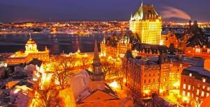 La ciudad de Quebec por la noche